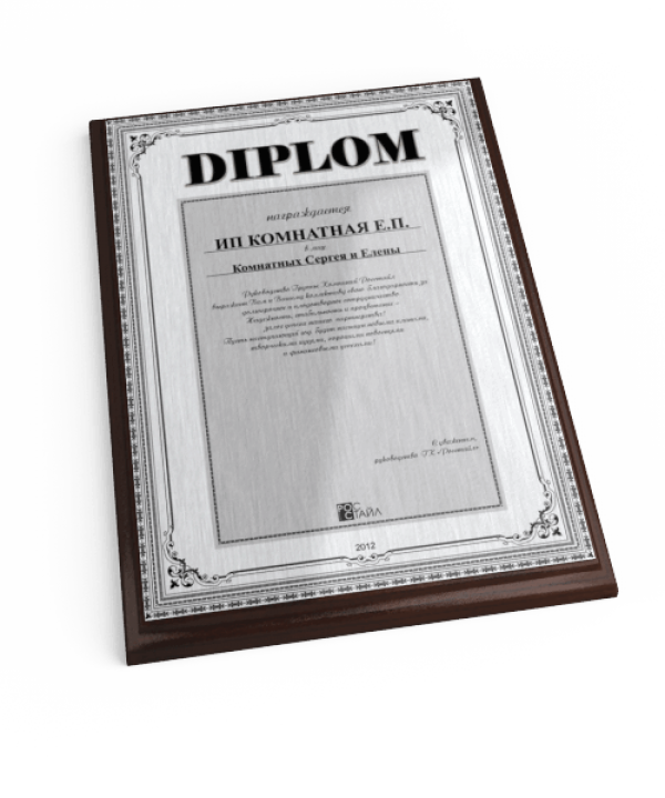 Наградной диплом на плакетке